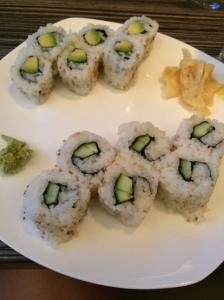 Avocado and Cucumber Sushi Rolls